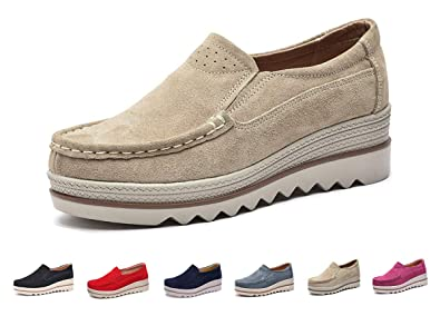 2fb80d16b4 Image Unavailable. Image not available for. Color: Eagsouni Women Platform  Slip On Loafers Comfort Suede ...