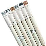 Canetas GANSSIA coloridas design de gatos 0,38 mm canetas de gel tinta preta pacote com 6 peças