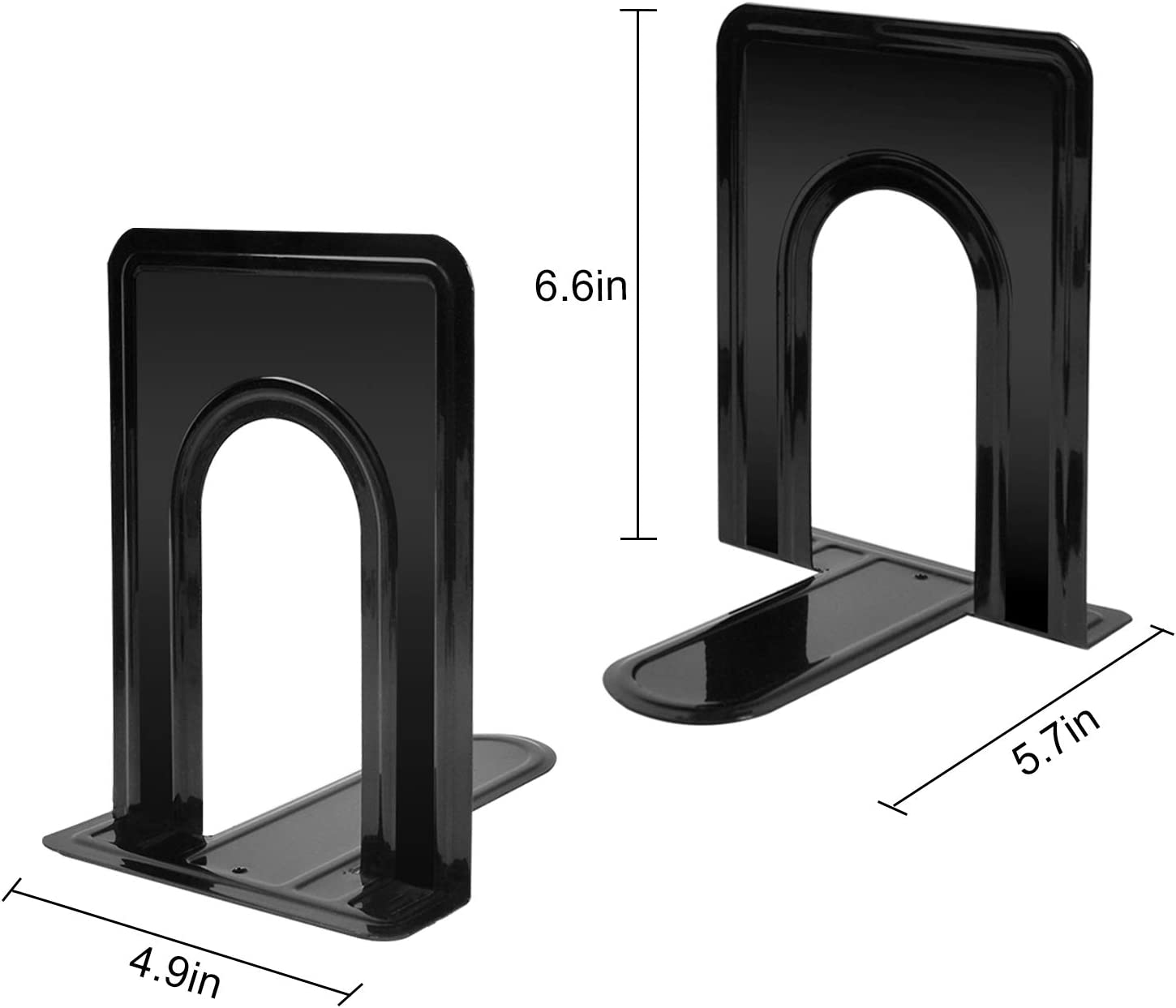 Bookends for Heavy Books Bookend Book End Bookends for Shelves Book Ends for Office Book Ends for Books Bookends for Holding Books Book Ends for Shelf Heavy Duty Bookend 4-Pair Black Metal Book Ends