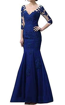 Lily Wedding Womens Long Sleeve Prom Dresses 2018 Long Lace Tulle Mermaid Evening Formal Party Ball