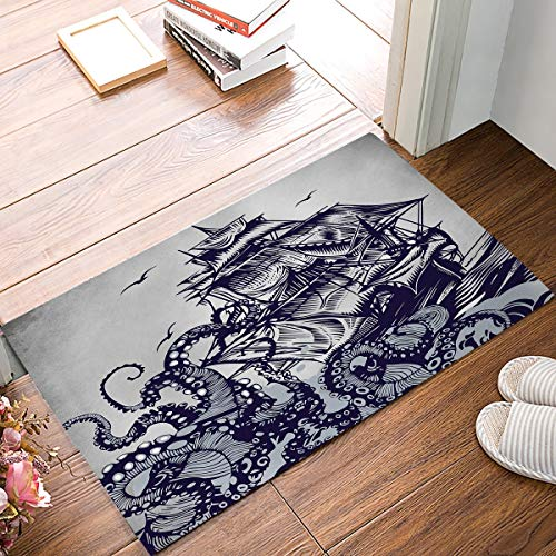 BeautyToiletLidCoverABC Kraken Sail Boat Waves and Octopus Monster Doormat Home Decorative Indoor Door Mat Anti-Slip Soft Entrance Rugs Washable Carpets for Living Room Bathroom Kitchen 15.7