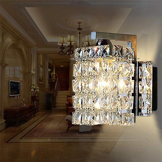 LED Cristal Pared Luz Moderno Dormitorio Lámpara de Noche, E27 Plata Pantalla Cuadrada para Lámpara, Soporte Metáli Mmural Lámpara, para Salon Escalera Pasillo Decoración Luz Pared: Amazon.es: Iluminación