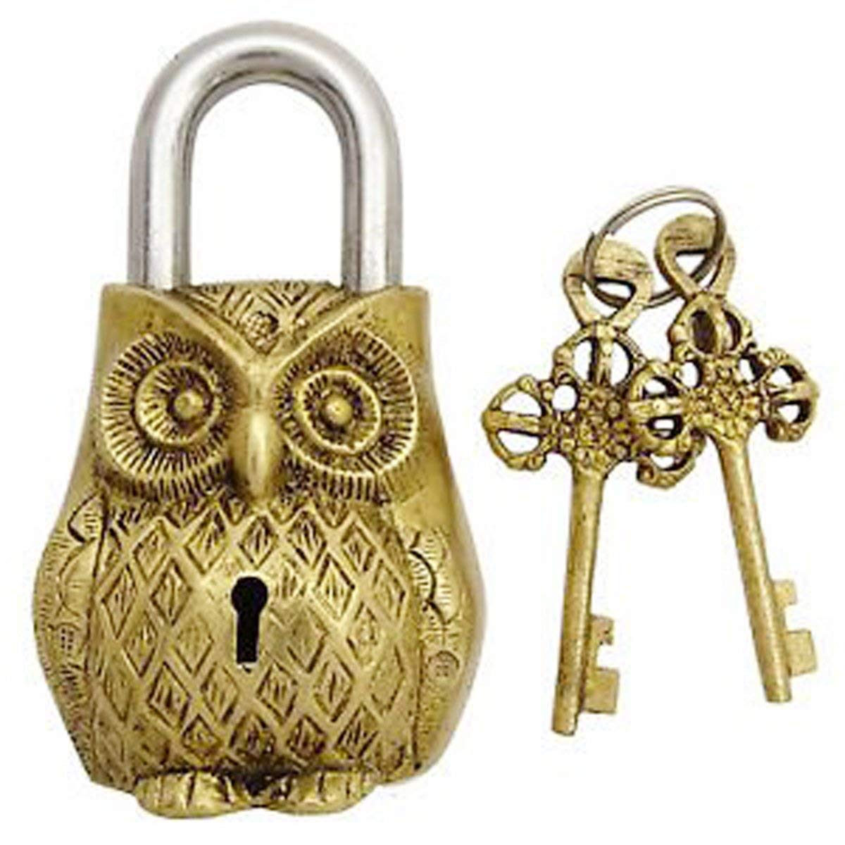 Buddha4all Beautifully Ornate Padlock Functional Brass Beautiful Padlocks with Two Keys Collectible Locks (Owl-Antique)