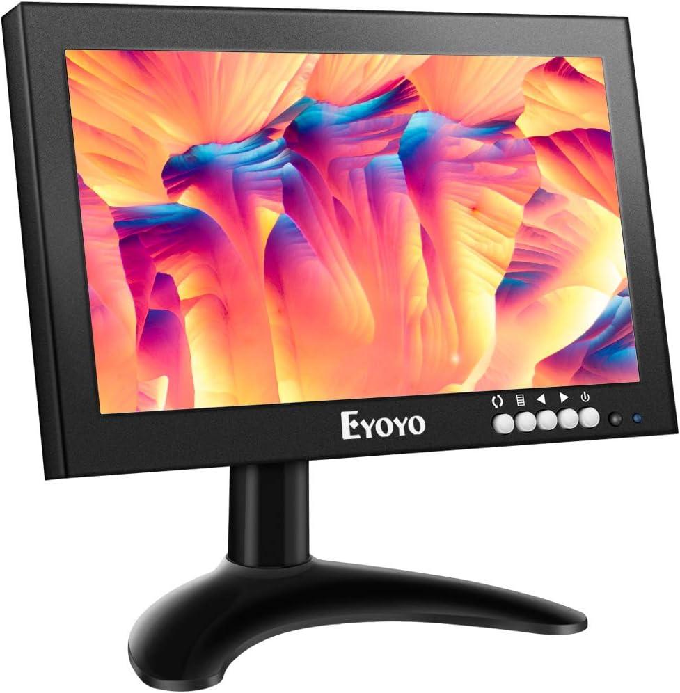 Eyoyo 8 Pulgadas IPS Monitor, 1280x720 16:9 HDMI Pantalla de Carcasa Metálica con Control Remoto& Soporte de Pared & Entrada de HDMI/VGA/AV/BNC para PC,CCTV,Cámara de seguridad,Raspberry pi: Amazon.es: Electrónica