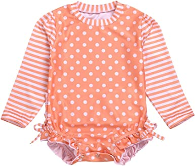 Toddler Baby Swimwear Rash Guard Costume Striped Sun Protective Beach Swimsuit