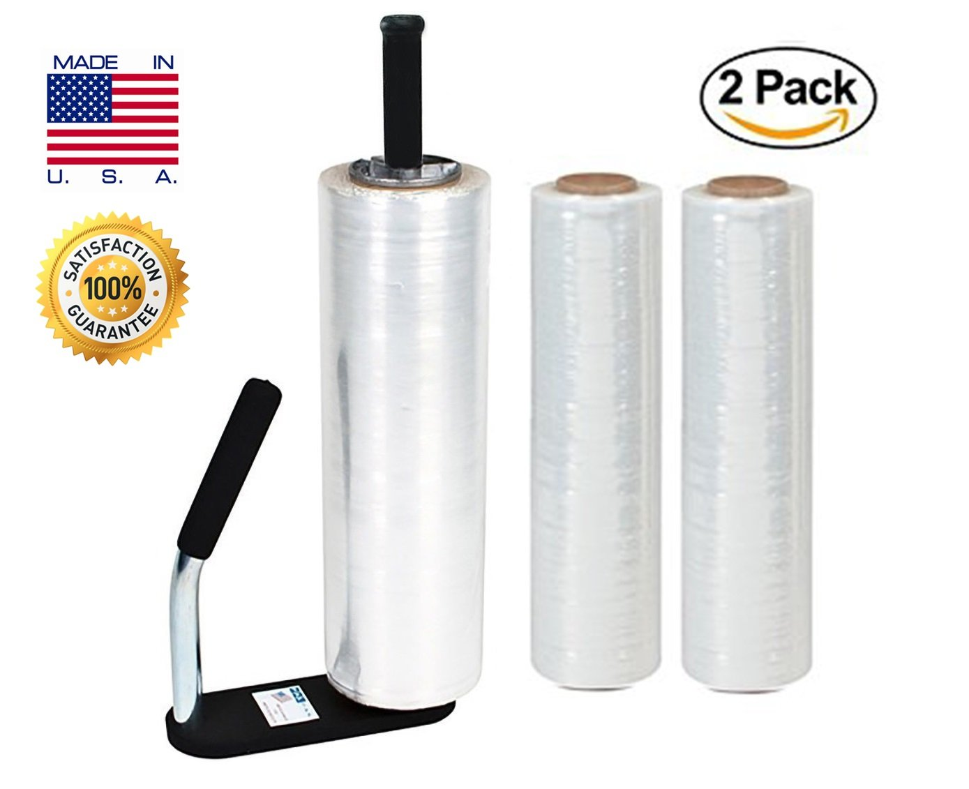 Clear Plastic Stretch Film, Industrial Strength Moving & Packing Wrap, 2 Pack 18'' x 1500 Ft Rolls with Best Selling Stretch Film Dispenser with Tension Grip Adjustment for Furniture, Boxes & Pallets