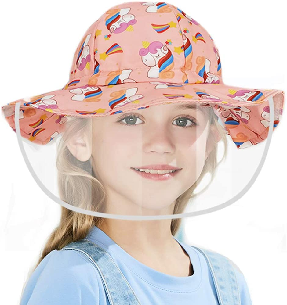 Kids Face Shield Hat Mask Girls Protective Hat with Protective Visor Anti-Saliva Anti-UV Anti-dust Anti-Fog Sun Visor Hat Fisherman Bucket Hat with Isolation Mask for Baby Girls