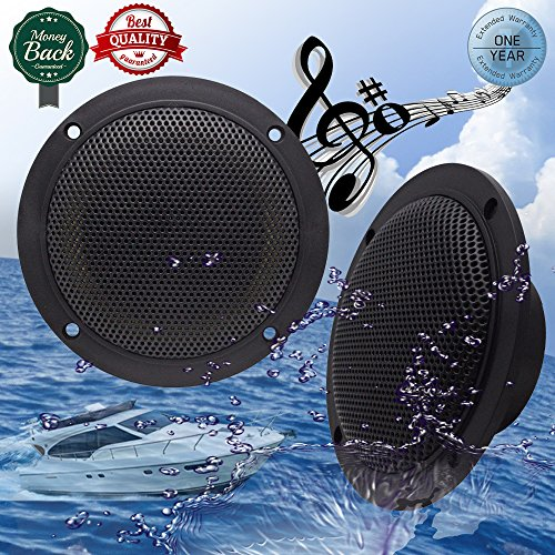 Car Boat Waterproof Marine Speakers 2-Way Full Range Audio Stereo Sound Motorcycle UTV ATV Fishing Golf Cart Yacht SPA Skid Steer Tractor Powersports 160 Watts 4'' inches Dual Cone Black Pair (Audio Boat Speakers Marine)