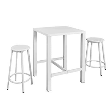 191b5156cd9944 SoBuy OGT12-W Set de 1 Table + 2 Tabourets Ensemble table de bar bistrot