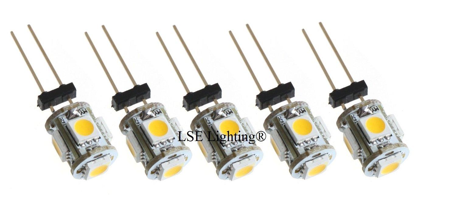 LOT of 5, WARM WHITE Bulb G4 BiPin 2W 360Deg LEDs for Malibu 12V AC Landscape by LSE Lighting (Image #1)