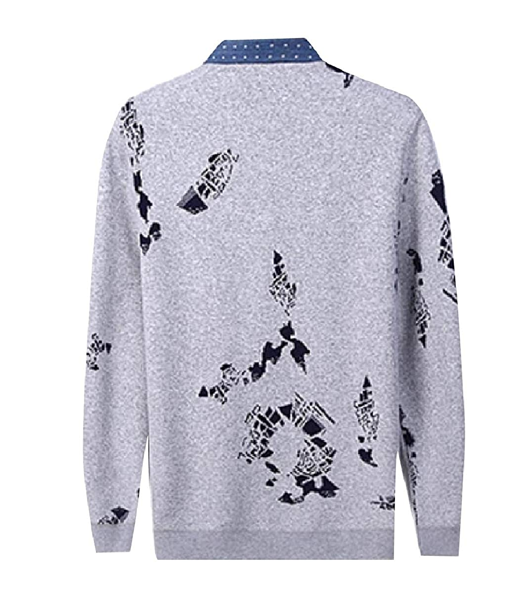 YUNY Mens Knit Fake Two Pieces Pullover Polo-Collar Premium Sweater 1 L