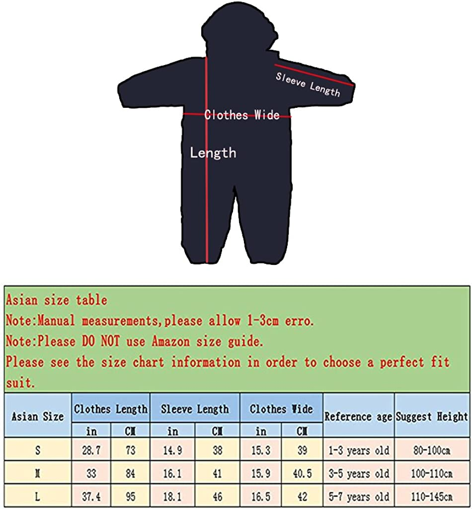 Aclear Unisex Baby and Kids Rainsuit One Piece Rain Poncho Hooded Jumpsuit Coverall Baby Waterproof 1-7 Years