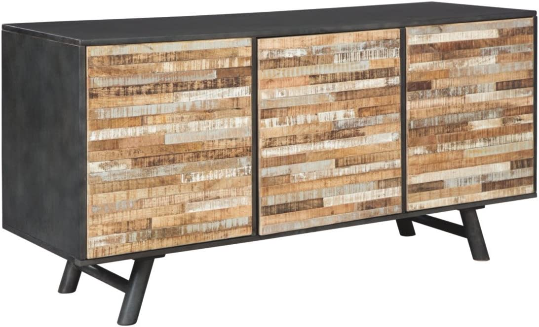 Ashley Furniture Signature Design - Forestmin 3-Touch Latch Door Accent Cabinet - Patchwork Stripe Pattern Doors in Multiple Finishes