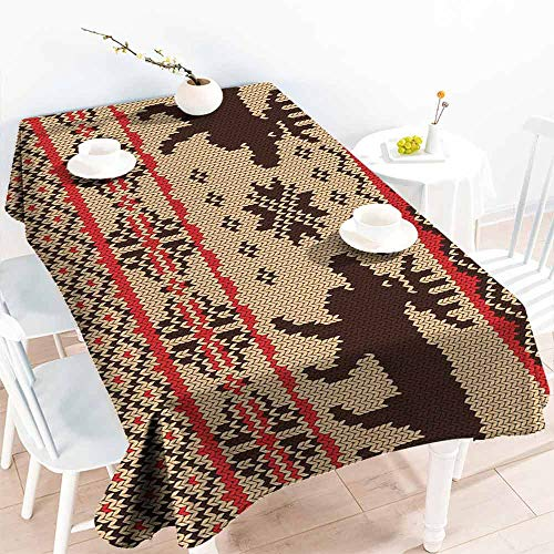 - HCCJLCKS Restaurant Tablecloth Cabin Decor Knitted Swatch with Deers and Snowflakes Classic Country Plaid Digital Print and Durable W50 xL80 Brown Tan Red