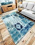 Sunhai Rug Minimalist fashion idyllic Mediterranean blue modular carpet mats bedroom living room coffee table sofa (Size : 140CM×200CM)