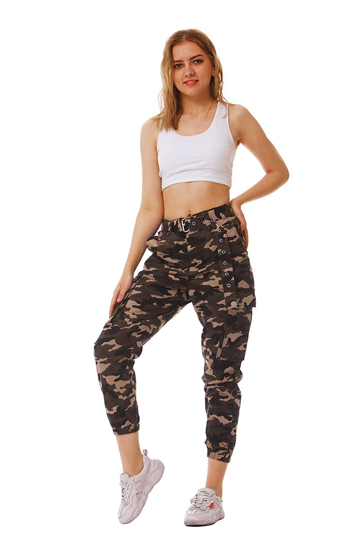 NEWISTAR Damen Hosen Camouflage G/ürtel Multi Taschen Laufhose Bunt Combat Hose Rei/ßverschluss Military Freizeithose Trainingshose Relaxed-Fit