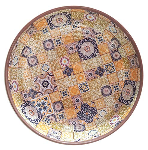 Bowl Tile - Melange 6-Piece 100% Melamine Bowl Set (Moroccan Tiles) | Shatter-Proof and Chip-Resistant Melamine Bowls | Color: Yellow