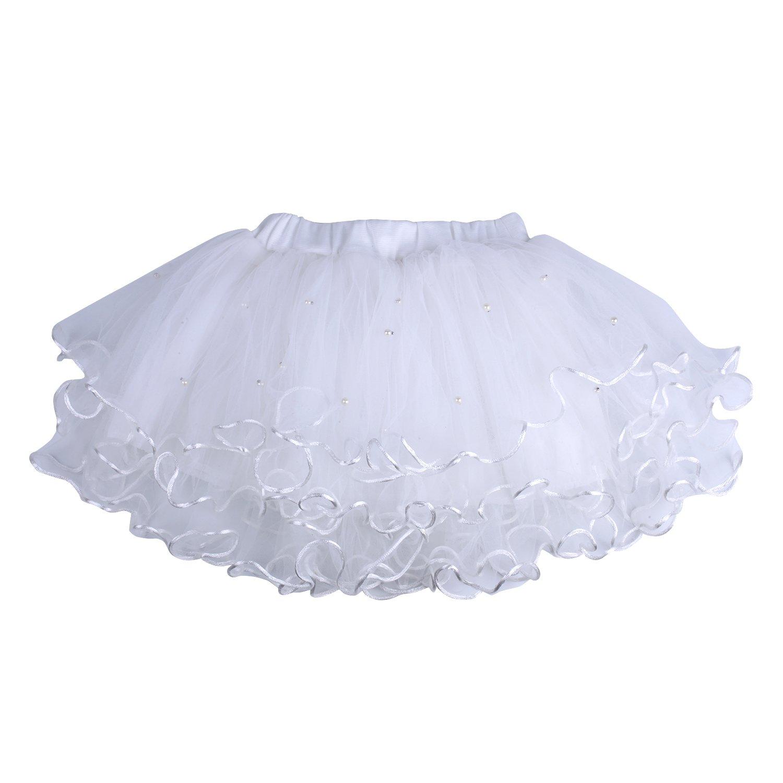 ICObuty Baby Girls Kids Ruffle Skirt Tutu Skirt Pettiskirt Multi-Layer Princess Ballet Party Dance Dress (100, White)
