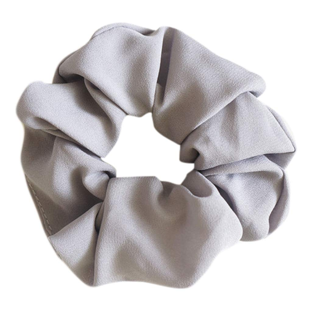 Lamdoo Women Hair Bobble Scrunchie Large Bow Solid Color Ponytail Holder Retro Tie Rope——Blue