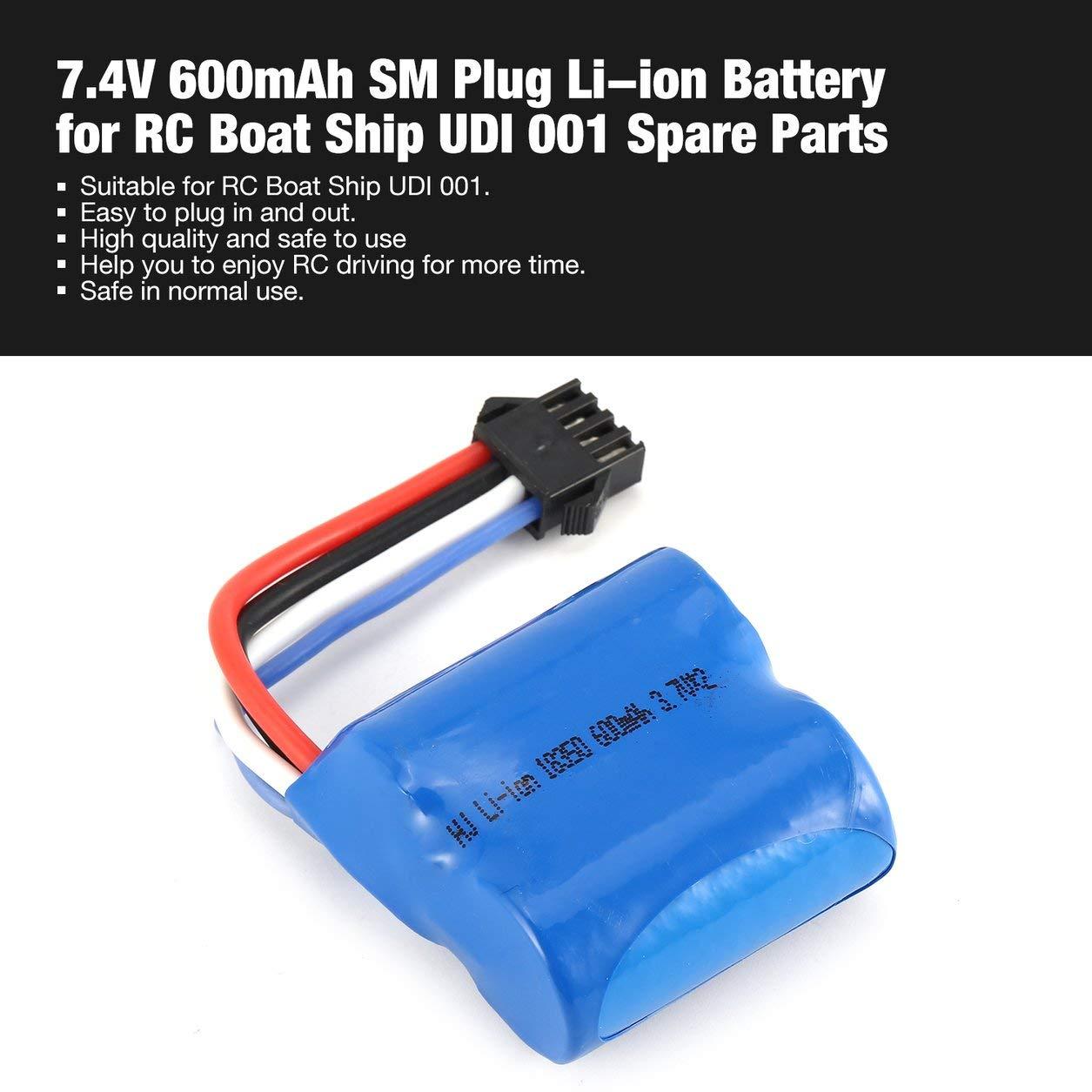 Dailyinshop 7.4V 600mAh SM Plug Li-ion Battery for RC Boat Ship UDI 001 Spare Parts( Color:Blue)