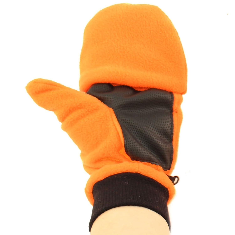 Mens Winter Flip Glomitt Thick Fleece Lined Grip Hazard Gloves Mitten Orange