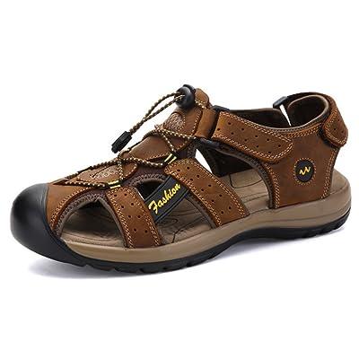Mofri Men's Casual Leather Drawstring Hook and Loop Closed Toe Beach Hiking Flats Sandals