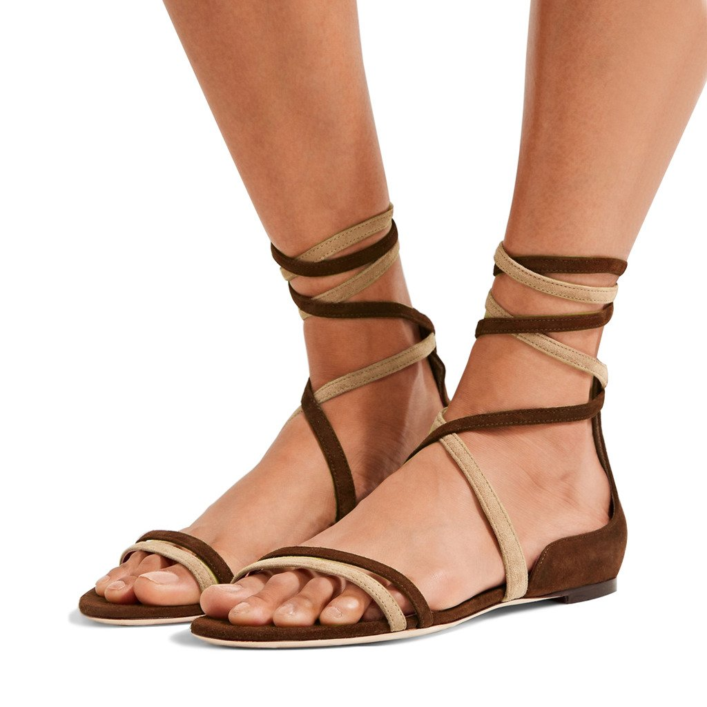 YDN Women's Suede Lace Up Flats Sandals Open Toe Ankle High Gladiator Shoes Comfy B0749KM3L9 10 B(M) US|Mix-brown