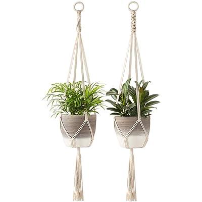Mkono Macrame Plant Hangers Indoor Hanging Planter Basket Cotton Rope Flower Pot Holder Boho Home Decor Set of 2, 39 Inches: Garden & Outdoor
