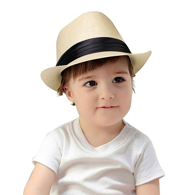 Kids Straw Fedora Hat Short Brim Sunhat Panama Cap