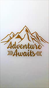 "Adventure Awaits Outdoors Hiking Camping Mountains Vinyl Decal Sticker Gold Cars Trucks Vans SUV Laptops Wall Art 6.5"" X 4.25"" CGS589"