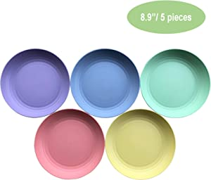 8.9 Inch Bamboo Fiber Plastic Plates (Set of 5 Deep Salad / Pasta / Dinner Plates) - Dishwasher & Microwave Safe - Reusable, Unbreakable, Lightweight, Eco-Friendly & BPA Free – Kids, Toddlers & Adults
