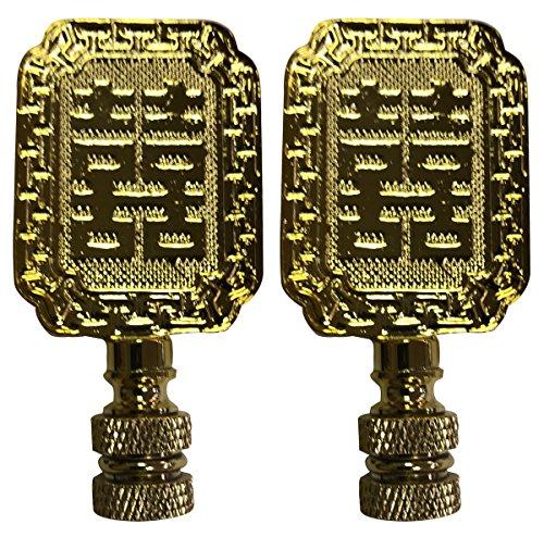 (Royal Designs Chinese Joy Symbol Lamp Finial for Lamp Shade- Polished Brass Set of 2)