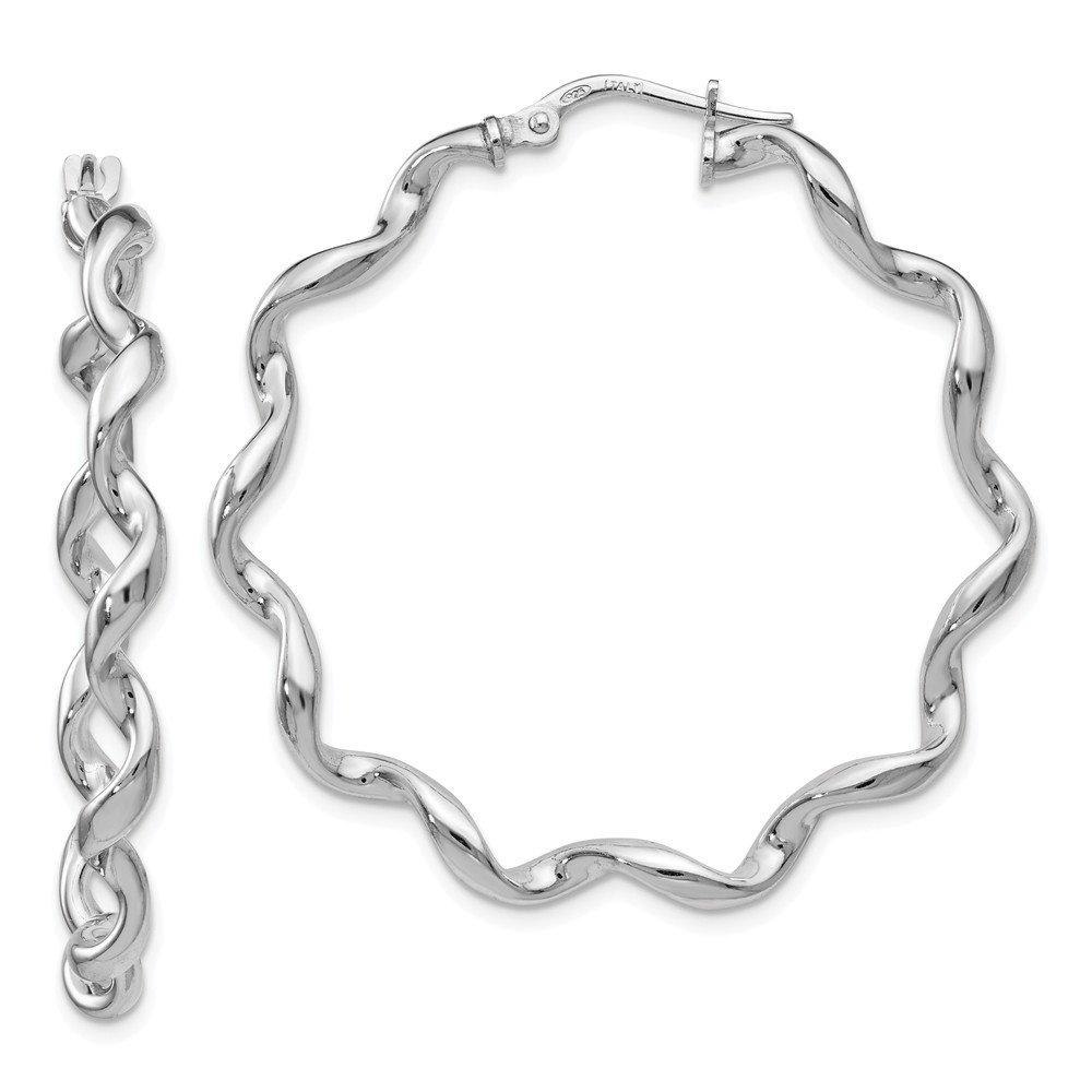 Leslies 925 Sterling Silver Polished Twisted Hoop Earrings
