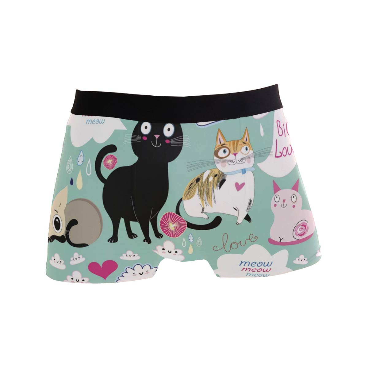 Cartoon Hipster Cat Kitten Love Heart Boxer Briefs Mens Underwear Pack Seamless Comfort Soft