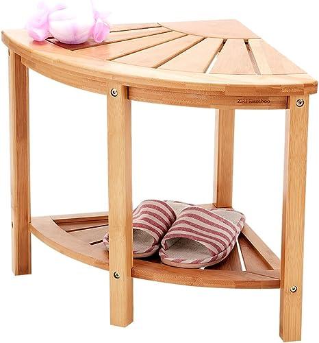 New Ridge Home Goods Natural Bamboo Corner Shower Bench Seat