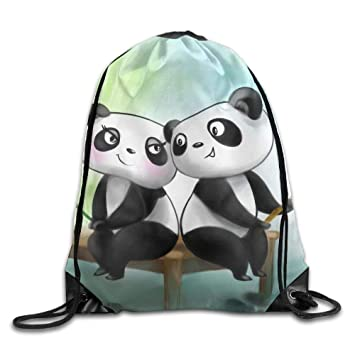 Amazon.com  Drawstring Bag Gym Bag Travel Backpack Romantic Panda ... 33fa6ef34