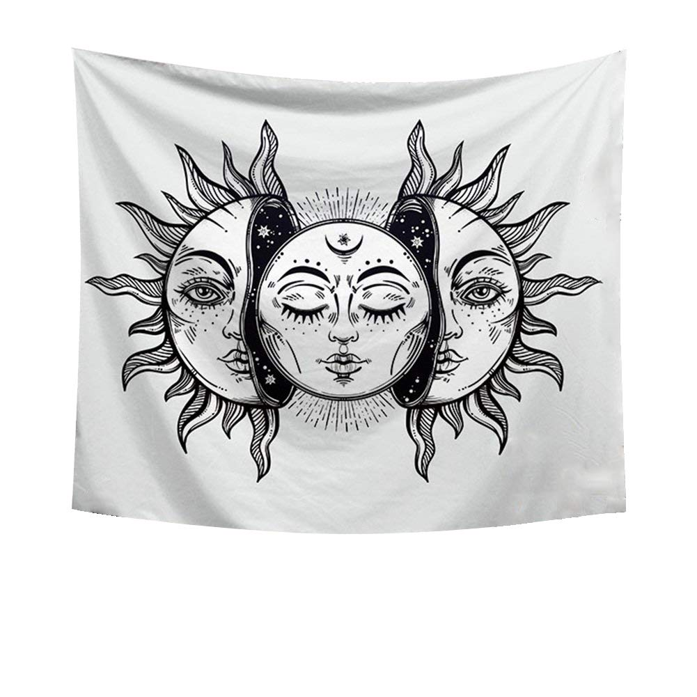 Psychedelic Celestial Sun and Moon with Fractal Faces Decor Tapestry Wall Hanging Hippie Celestial Energy Mystic Art Print for Window Curtain Table Cover Bedspread Beach Towel HYC44-8-L