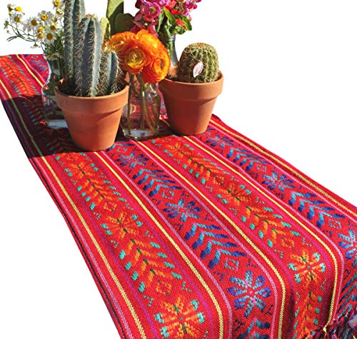 Del Mex Woven Rebozo Style Mexican Table Runner Scarf (Red) -