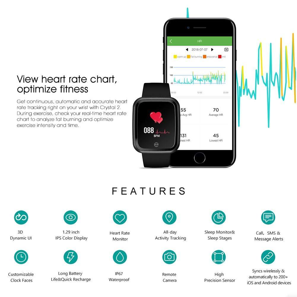 Amazon.com: Smart Watch, UNIhappy Zeblaze Crystal 2 1.29in ...