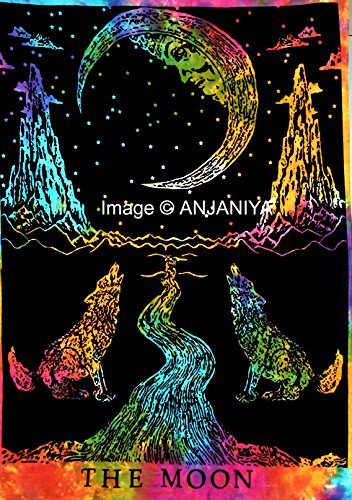 ANJANIYA Exclusive Gift & Home Decor for 2018 The Moon Crying Wolf Tie & Dye Small Tapestry Poster Size 40
