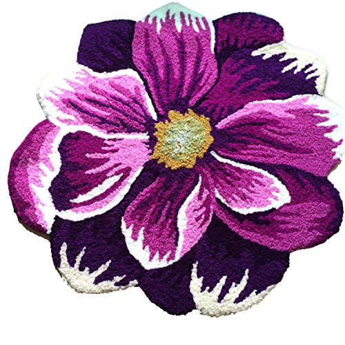 - Morden Handmade Needlepoint Floor Rug Red Bathmat Flower Rug Girls Bedroom Non-Slip Rugs, Great Gift for Christmas (Purple Dahlia)