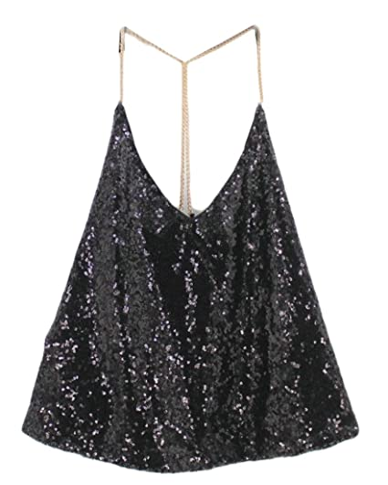 c382f5de23 WSPLYSPJY Women Summer Metal Sequin Sparkle Glitter Tank Deep V Neck  Spaghetti Strap Backless Chain Halter