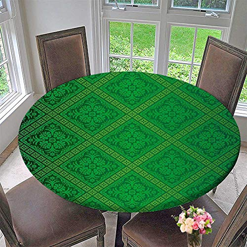 Mikihome Round Tablecloth Vector Illustration Seamless Pattern of Foliage Wallpaper Decorative Pattern Forest Green for Kitchen 35.5