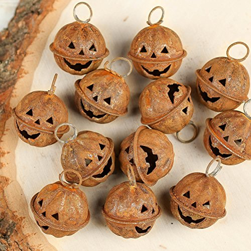 Factory Direct Craft Package of 12 Jack O' Lantern Halloween Rusted Metal Bells ()