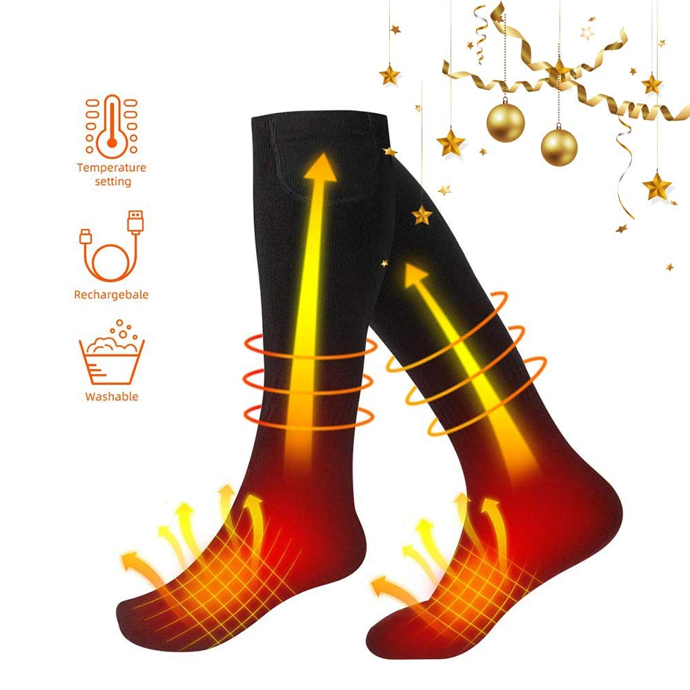 Heated Socks, Electric Socks 3.7V Rechargeable Battery Heating Socks Men Women Cotton Winter Thermal Sock for Ski Sleeping Hunting Fishing Riding