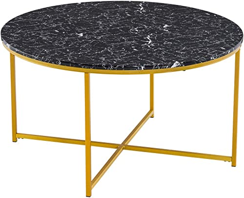36in Round Marble Top Coffee Table,Modern Faux Marble Dining Table