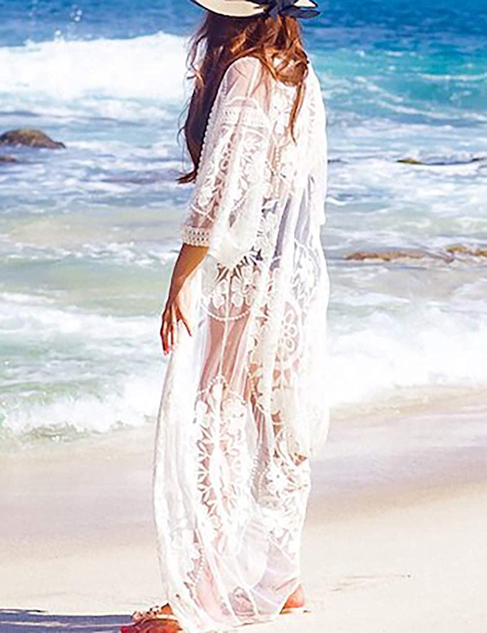 Bsubseach Pizzo allUncinetto Copricostumi E Parei da Donna Costume da Bagno Copricostume Kimono Abito Lungo da Spiaggia