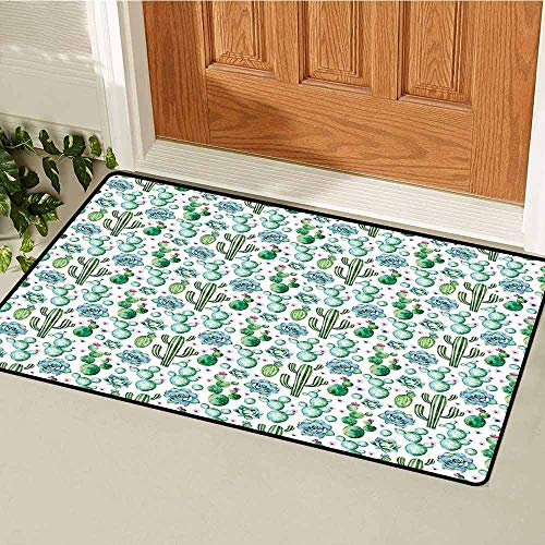 Gloria Johnson Cactus Decor Commercial Grade Entrance mat Hand Painted Exotic Plant Collection Saguaro Prickly Pear Succulents Spines for entrances garages patios W23.6 x L35.4 Inch Multicolor