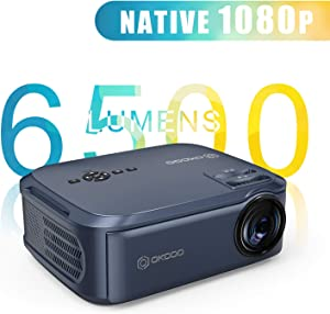 """Projector Native 1080P LED Video Projector, 6500 Lux Upgrade Full HD Video Projector with 200"""" Image Display Compatible with Zoom,LCD LED Home Theater Projector Compatible with Phone,PC,TV Box,PS4"""
