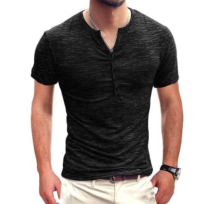 023d845b893 Mens Henley Tee Shirts Short Sleeves Casual Tops Slim fit Blouse Vneck  Black S